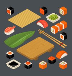 set icon sushi nigiri and rolls served with vector image