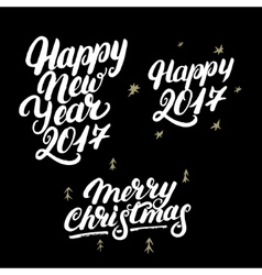 Set of happy new year 2017 and merry christmas vector