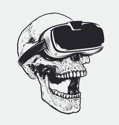 Skull in vr glasses vector