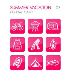 Summer camping icon set summer holiday vector