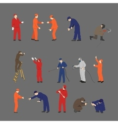 The workers in overalls in different poses vector
