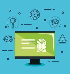 Theft identity set icons vector