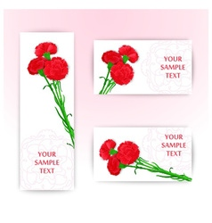 Three card with bouquet of red cloves vector