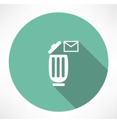 trash can with a message icon vector image