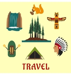 Travel Canadian and American icons vector image