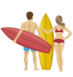 Young couple standing with their surfboards vector