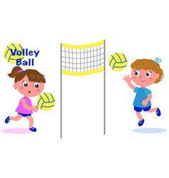 Young girls playing volleyball vector