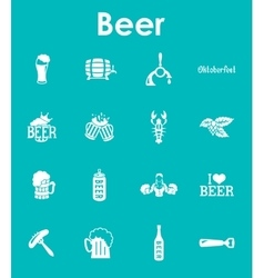 Set of beer simple icons vector