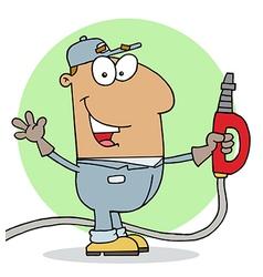 Hispanic Gas Station Attendant Man vector image