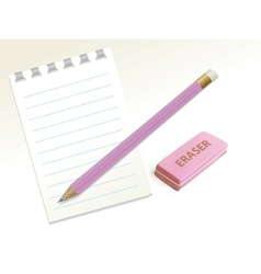 Pencil eraser notepad vector image