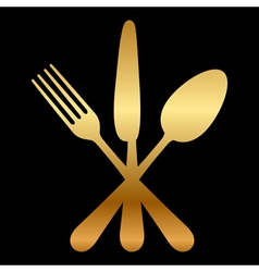 Gold cutlery icon vector