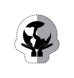 sticker silhouette of hands holding a map of world vector image