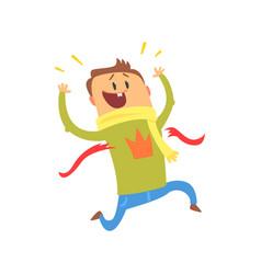 Cartoon man crossing blue finishing line colorful vector