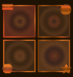 Set of square cards with halftone patterns in vector