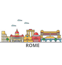 rome city skyline buildings streets silhouette vector image