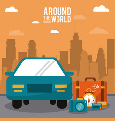Around the world car vehicle baggage clock credit vector