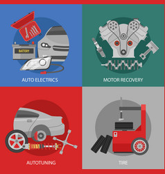 Flat professional car repair square composition vector