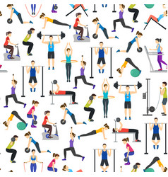 Cartoon people workout exercise in gym background vector