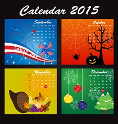 Public holiday calendar of 2015 vector
