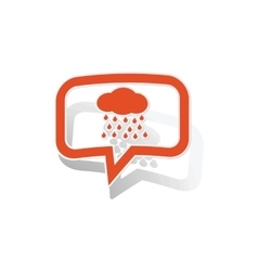 Rain message sticker orange vector