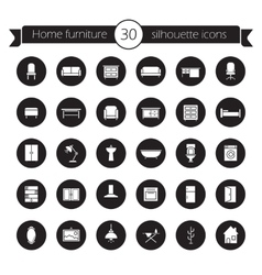 Furniture icons set black vector