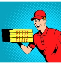 Pizza delivery guy comics vector