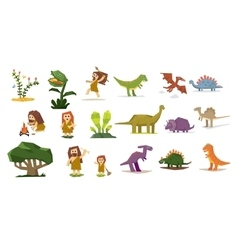 Dinosaurs and prehistoric plants people flat vector