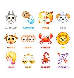 Kawaii zodiac symbols vector