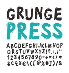 Vintage press font black vector
