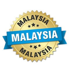 Malaysia round golden badge with blue ribbon vector