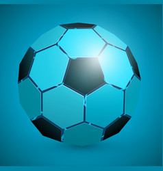 Abstract soccer ball 3d blue vector