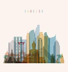 bangkok skyline detailed silhouette vector image vector image