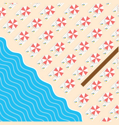 beach stuff with deckchair and sea leisure vector image vector image