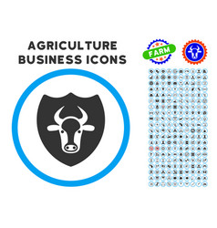 Bull shield rounded icon with set vector