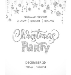 christmas party poster template silver on white vector image vector image