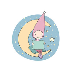 Cute gnome on the moon pillow and blanket for vector