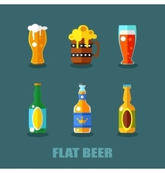 Drink flat icons Alcohol and beer bottles vector image