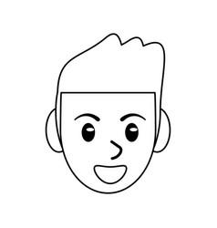 Face male avatar smile outline vector