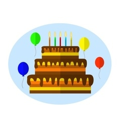 Festive cake with candle vector