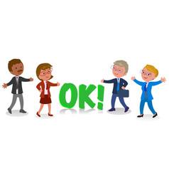 four businessmen in ok gesture vector image vector image