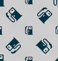 Fuel icon sign Seamless pattern with geometric vector image