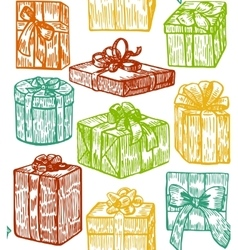 Hand drawn colorful gift background vector