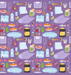 Healthy lifestyle fitnes seamless pattern vector
