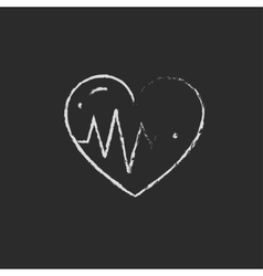Heart with cardiogram icon drawn in chalk vector image