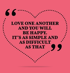 Inspirational love marriage quote love one another vector