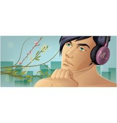 Listening music vector