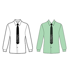Long sleeve mans shirt tie outlined template fron vector