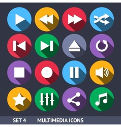 Multimedia Icons With Long Shadow Set 4 vector image