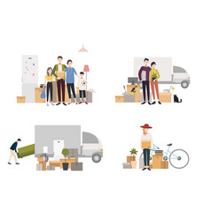 people moving into a new house with things set of vector image vector image
