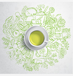 realistic cup of green tea with circle doodles vector image vector image